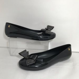 Melissa Front Bow Jelly Ballet Flats Round Toe 10